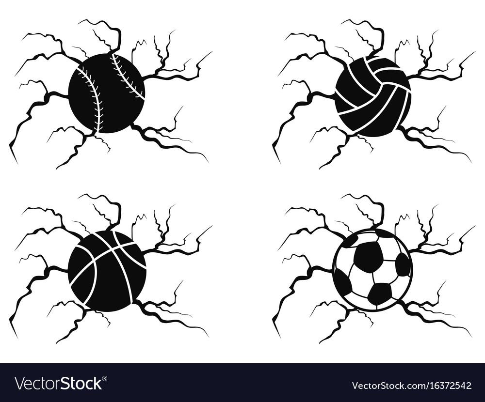 Balls cracking icons set