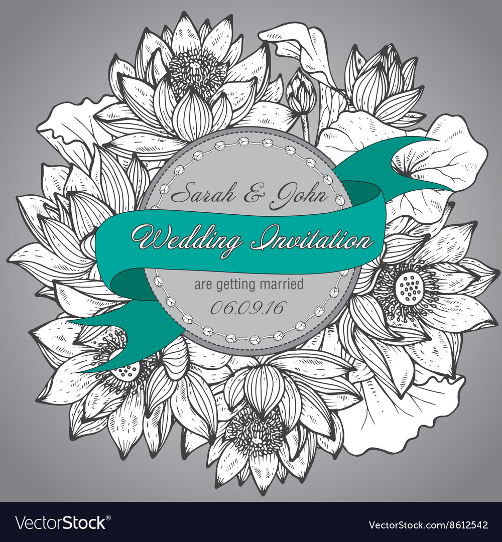 Beautiful elegant wedding invitation with graphic vector image