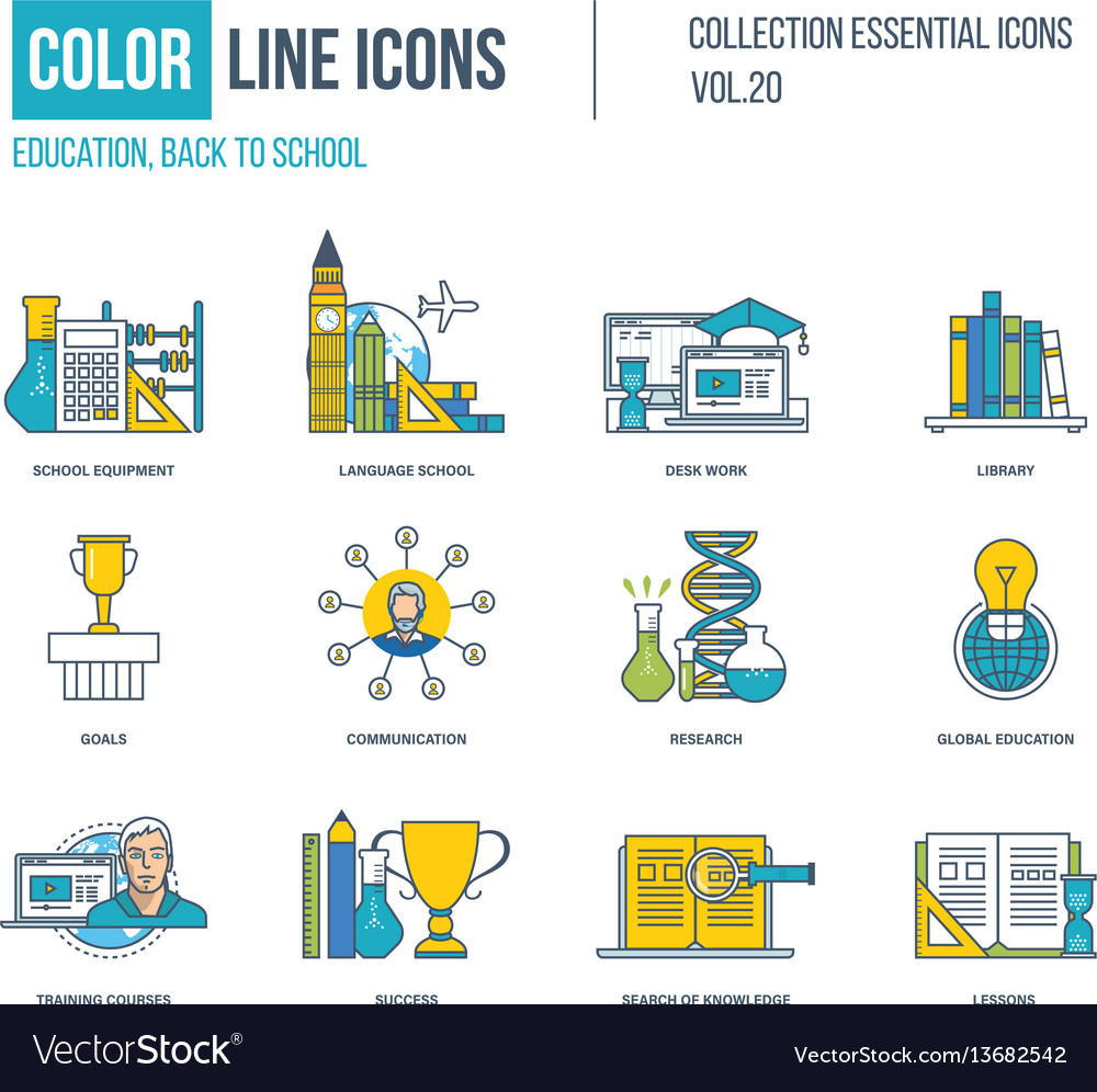 Color icons school equipment language school