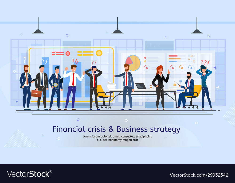 Crisis meeting and business strategy banner