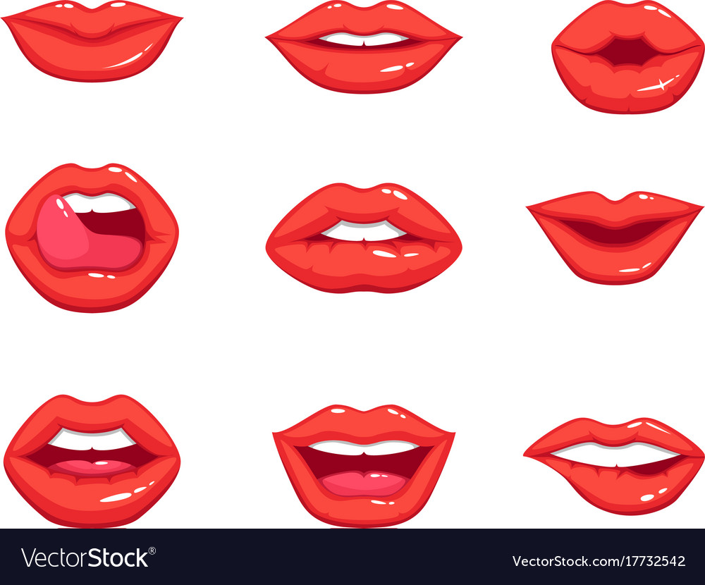red lips vector clipart vector design