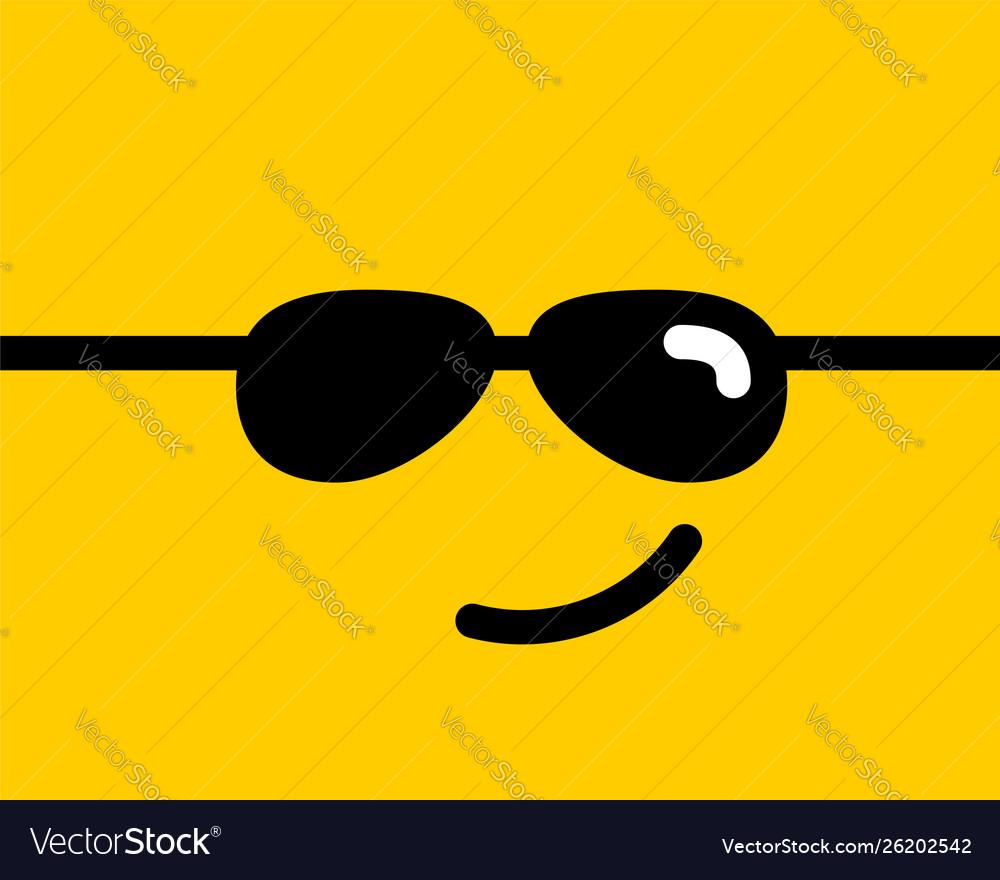 Emoji smile icon symbol on yellow background