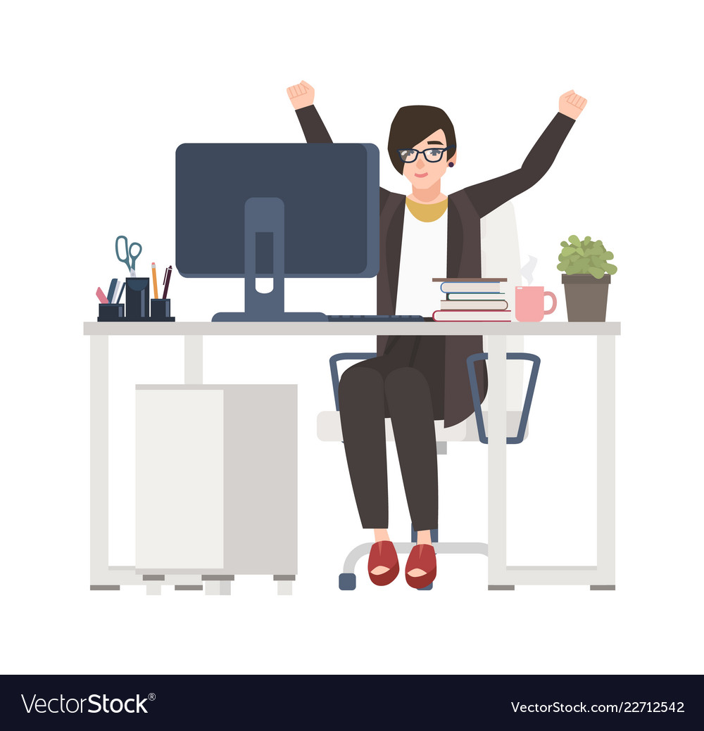 Female office worker or manager sitting at desk