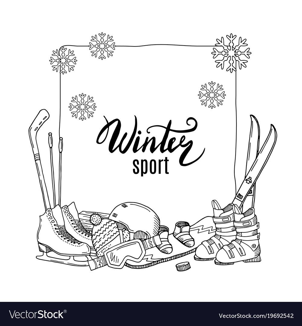 Hand drawn winter sports equipment elements