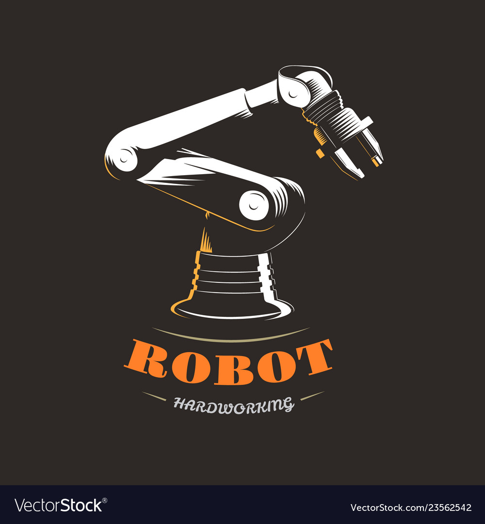 Industrial robot on production on black background
