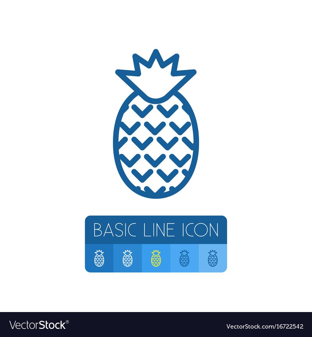 Isolated pineapple outline dessert element