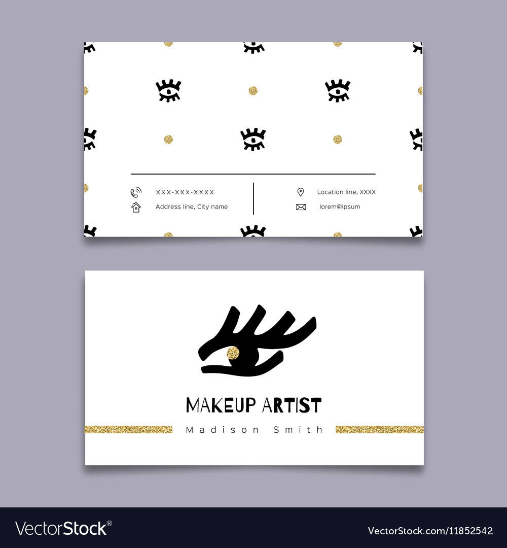 Makeup artist business card Hipster minimal Vector Image