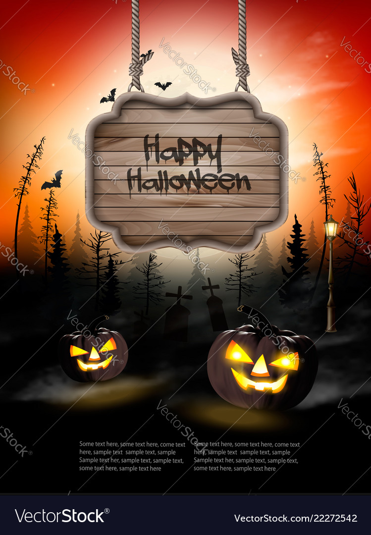 Scary halloween background with pumpkins and