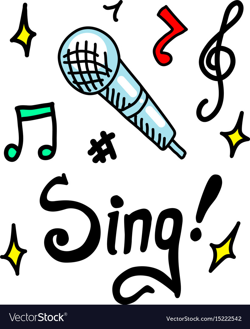 Sing doodle vector image