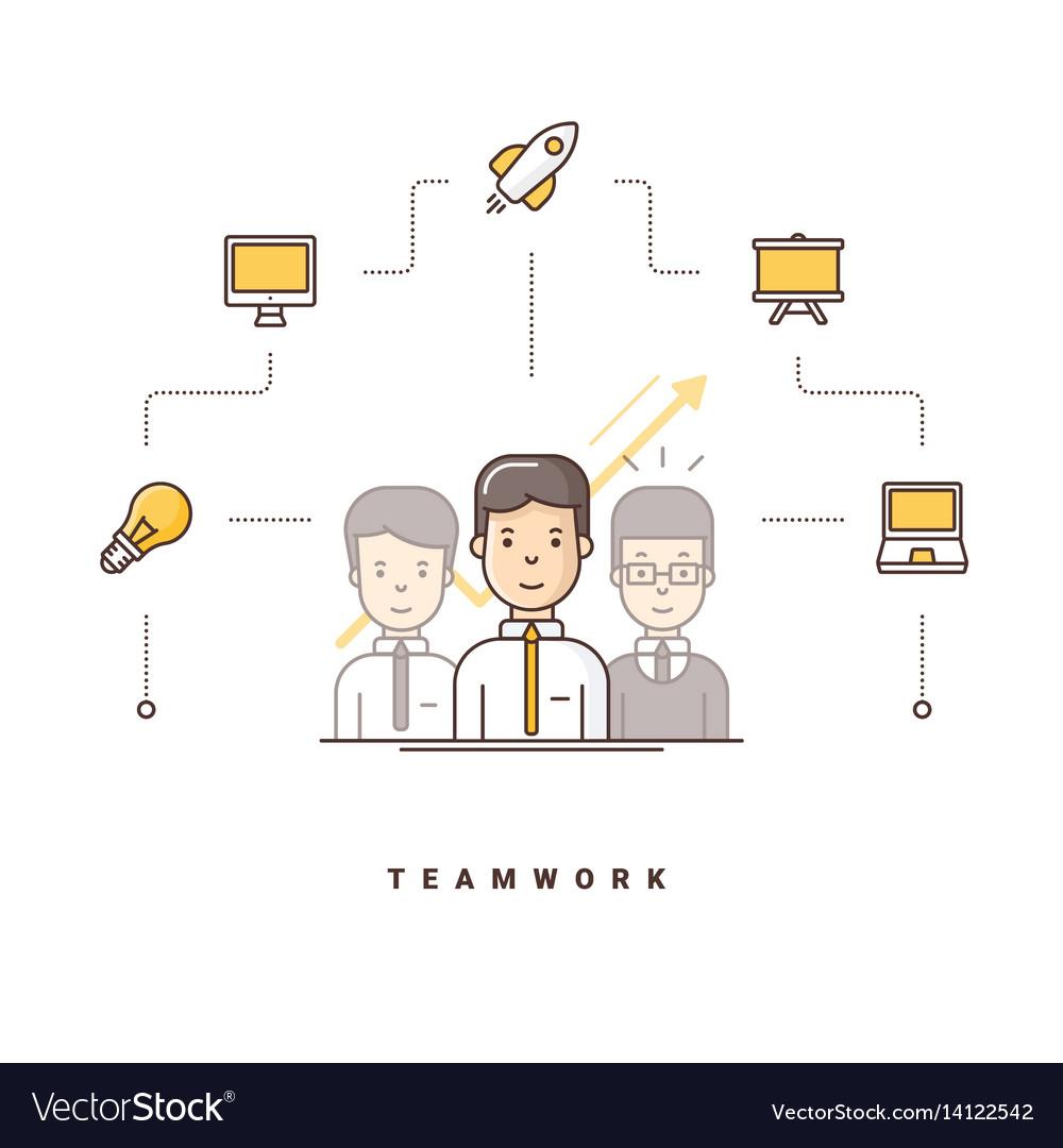 Teamwork three cartoon characters standing