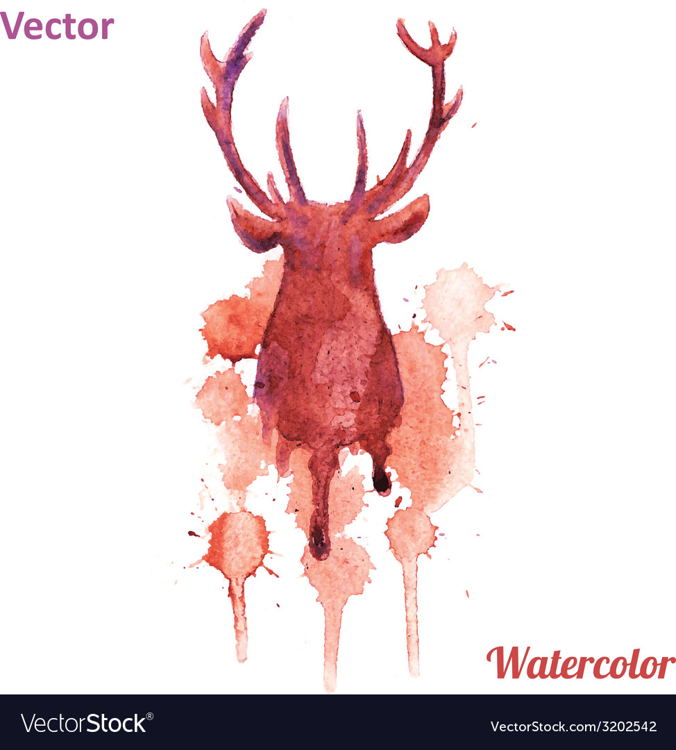 Watercolor deer head on the white background