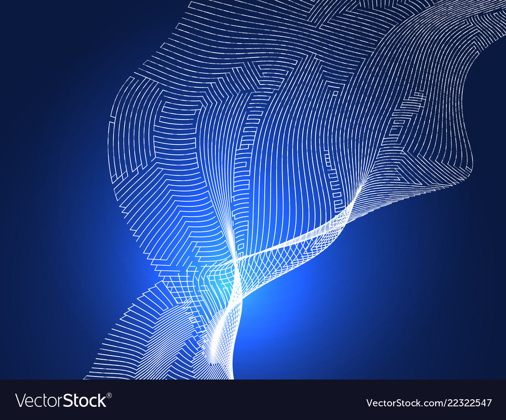 Abstract digital lines on blue background