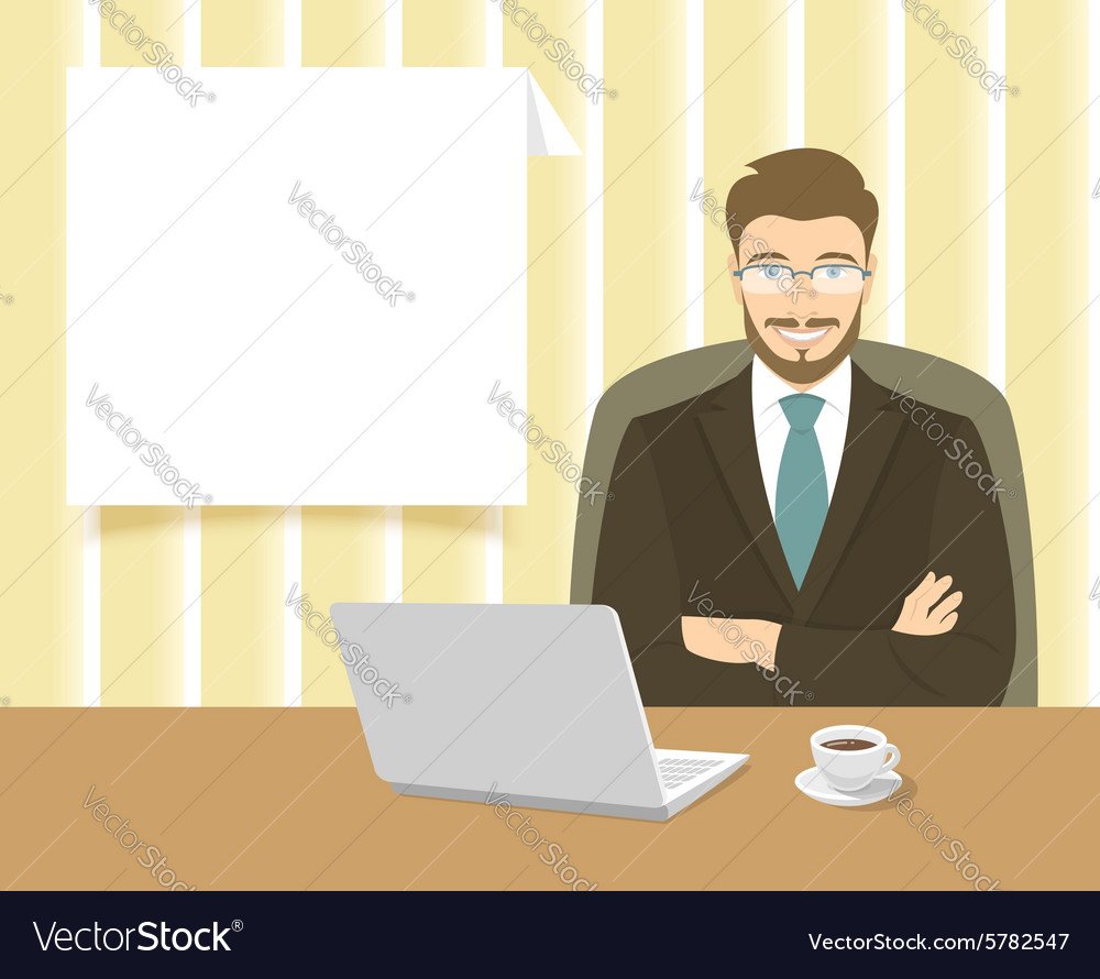 Businessman sitting at the office desk vector image