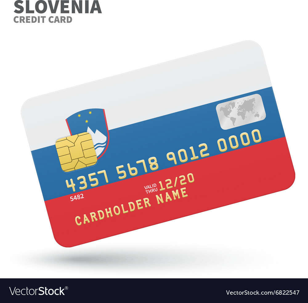 Credit card with Slovenia flag background for bank