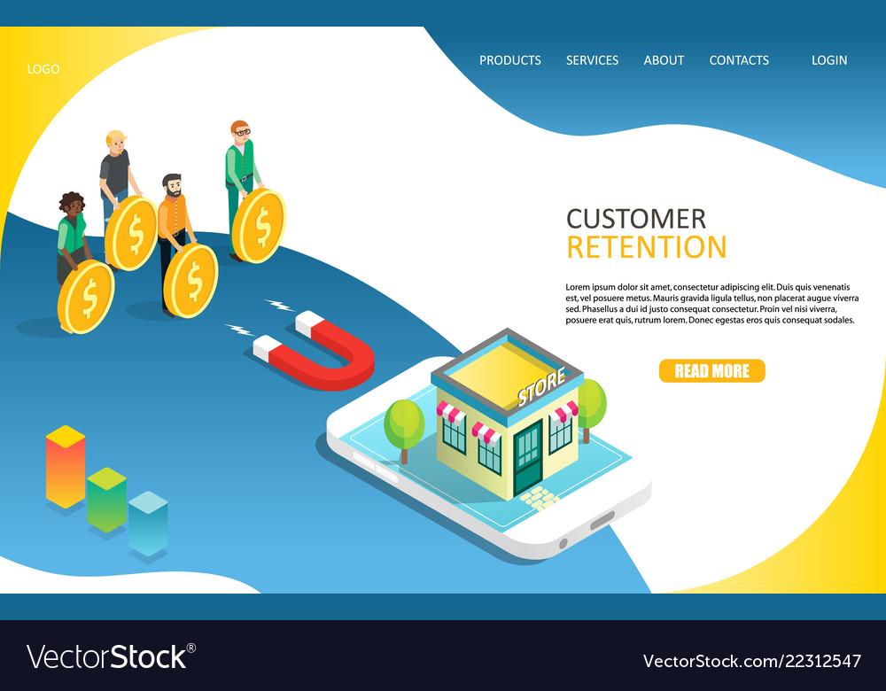 Customer retention landing page website