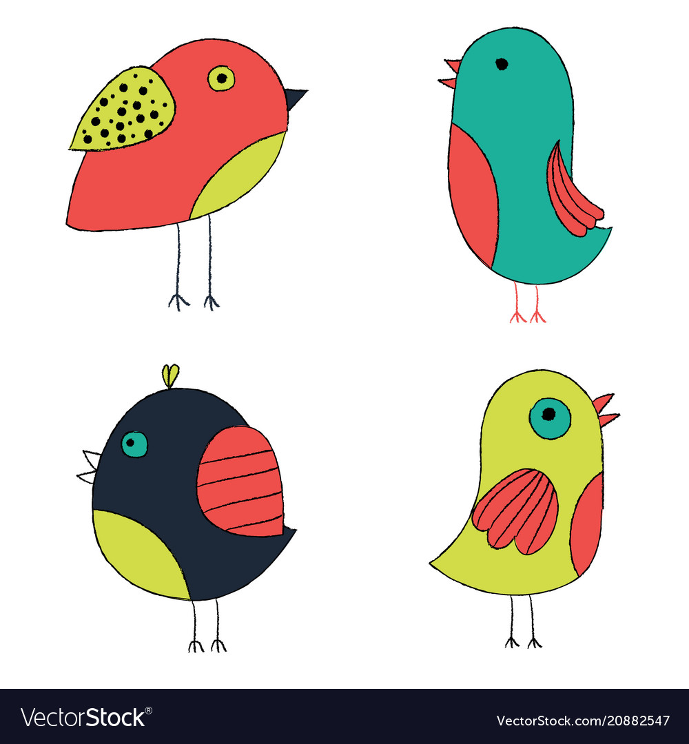 Cute hand drawn birds colorful birds collection