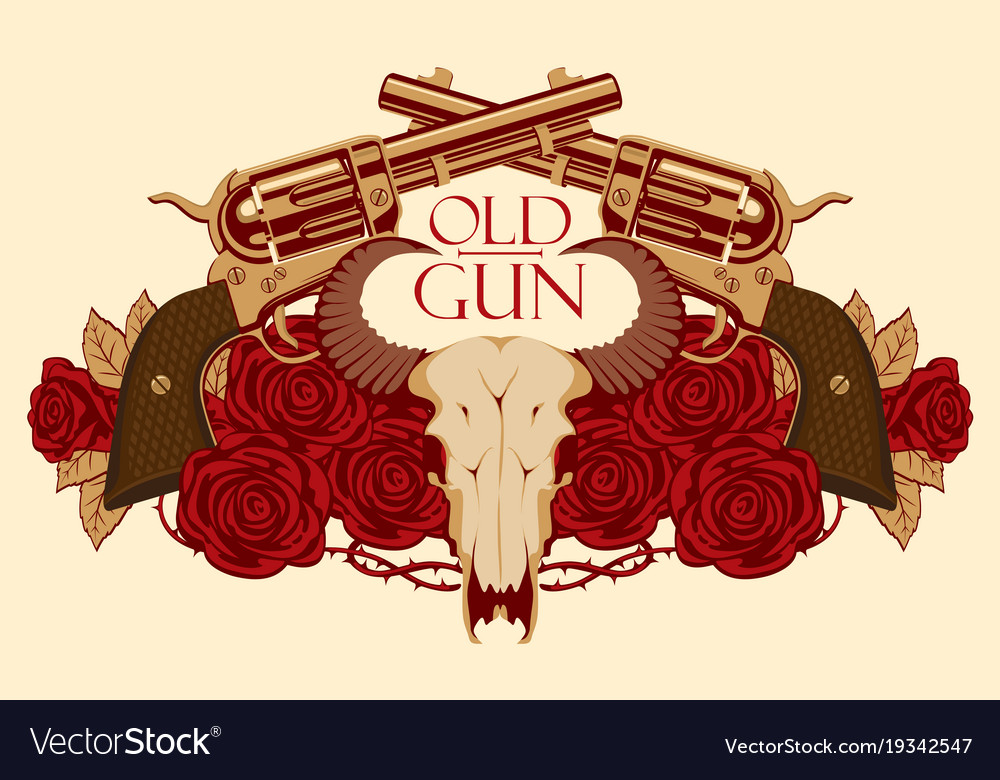 Emblem with skull of bull red roses and pistols vector image voltagebd Gallery