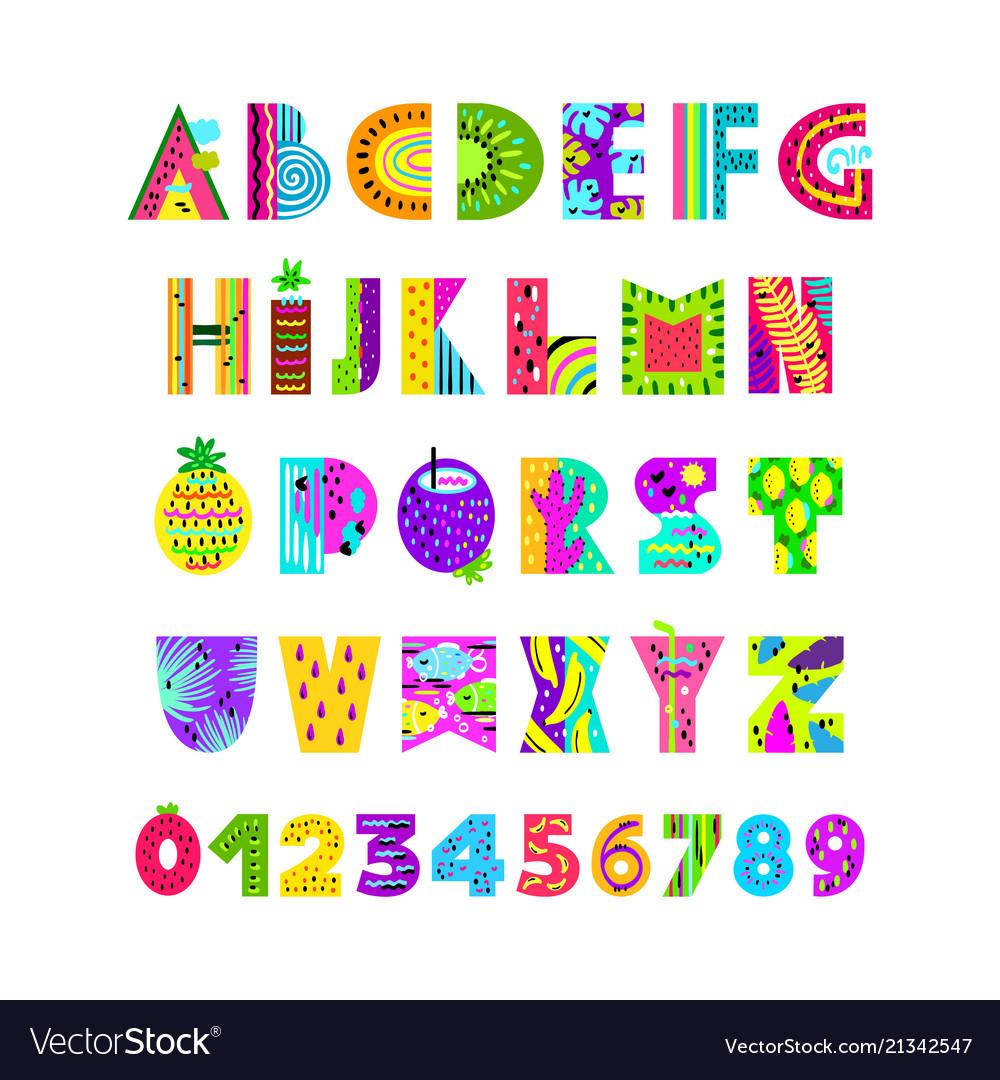 English alphabet in summer style