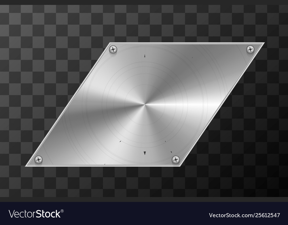 Glossy metal industrial plate in parallelogram