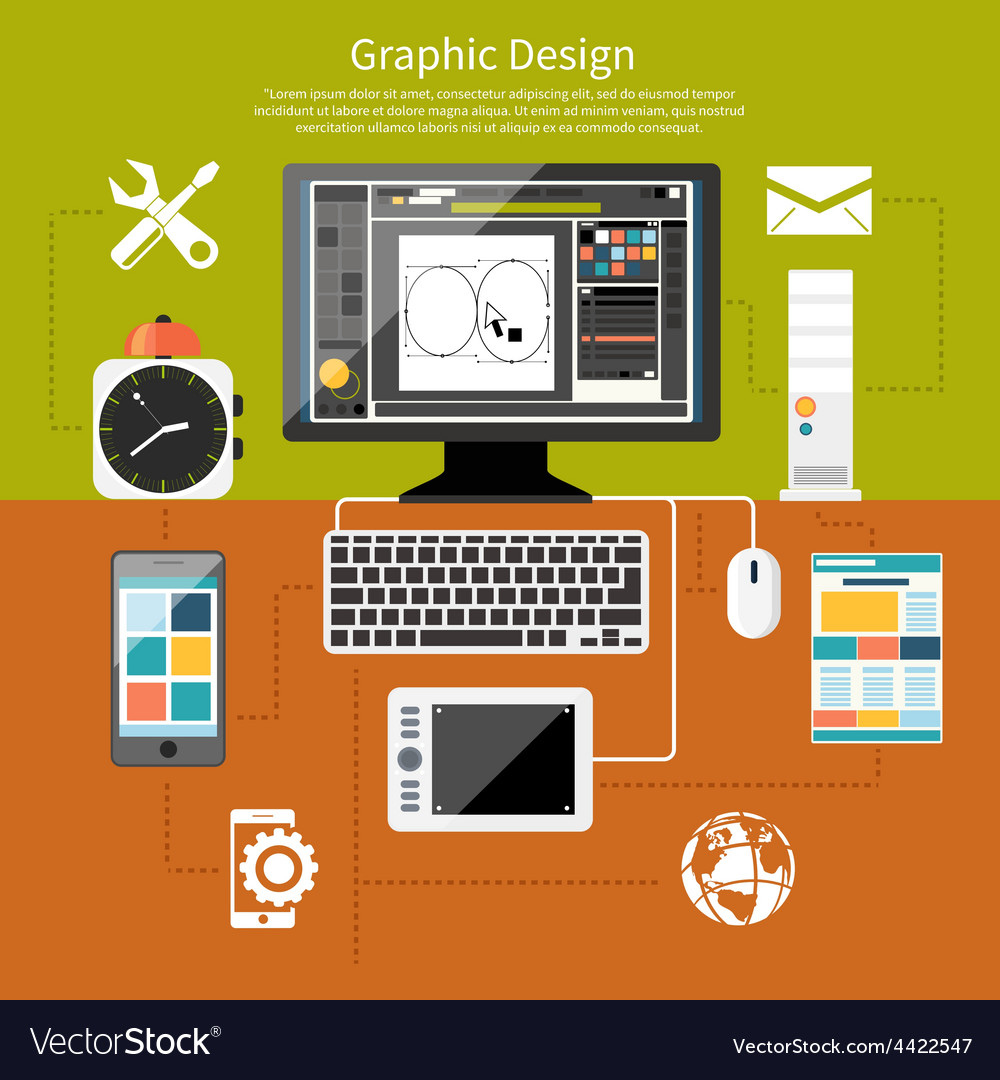 Graphic Design And Designer Tools Concept Vector Image