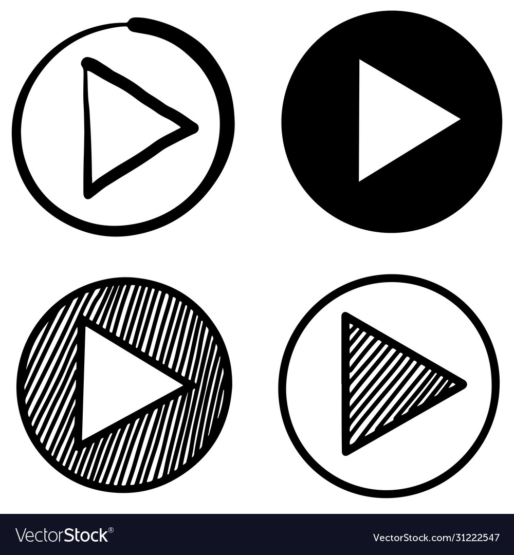 Hand drawn doodle style player button icon
