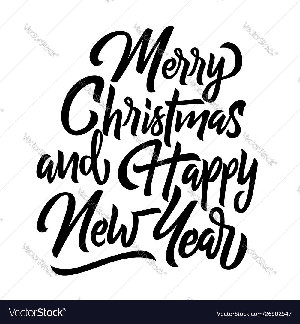 Merry christmas and happy new year handwriting