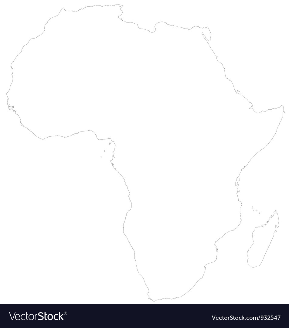 Outline Map Of Africa Royalty Free Vector Image
