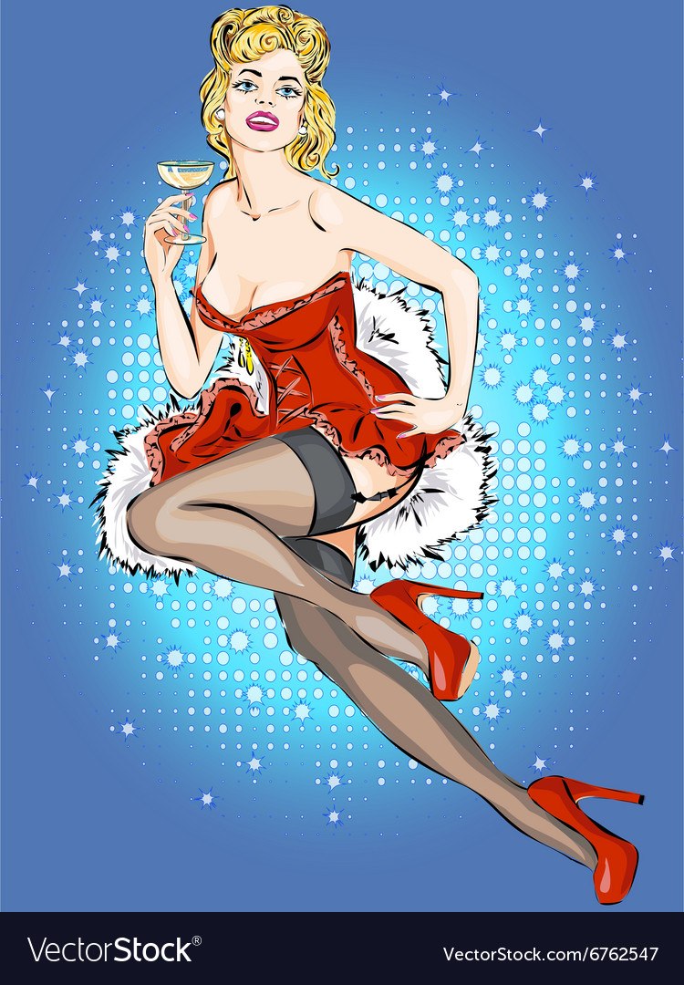 Pin-up Christmas girl with glass of champagne