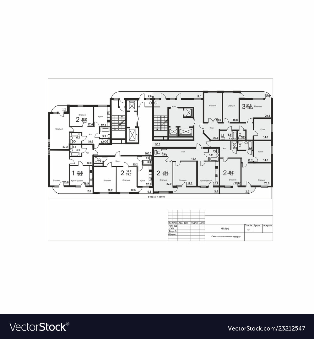 Plan of a multi apartment residential building vector image