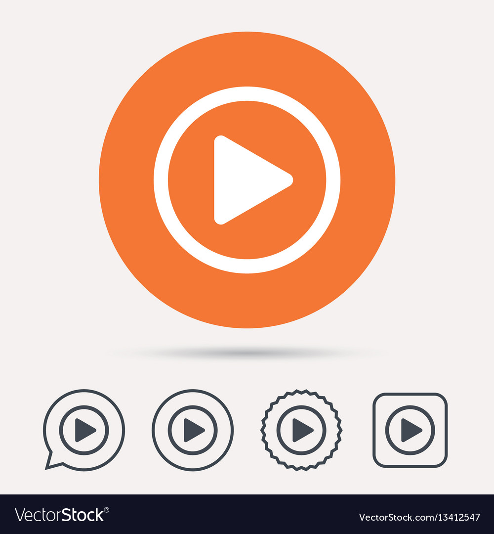 Play icon audio or video player sign