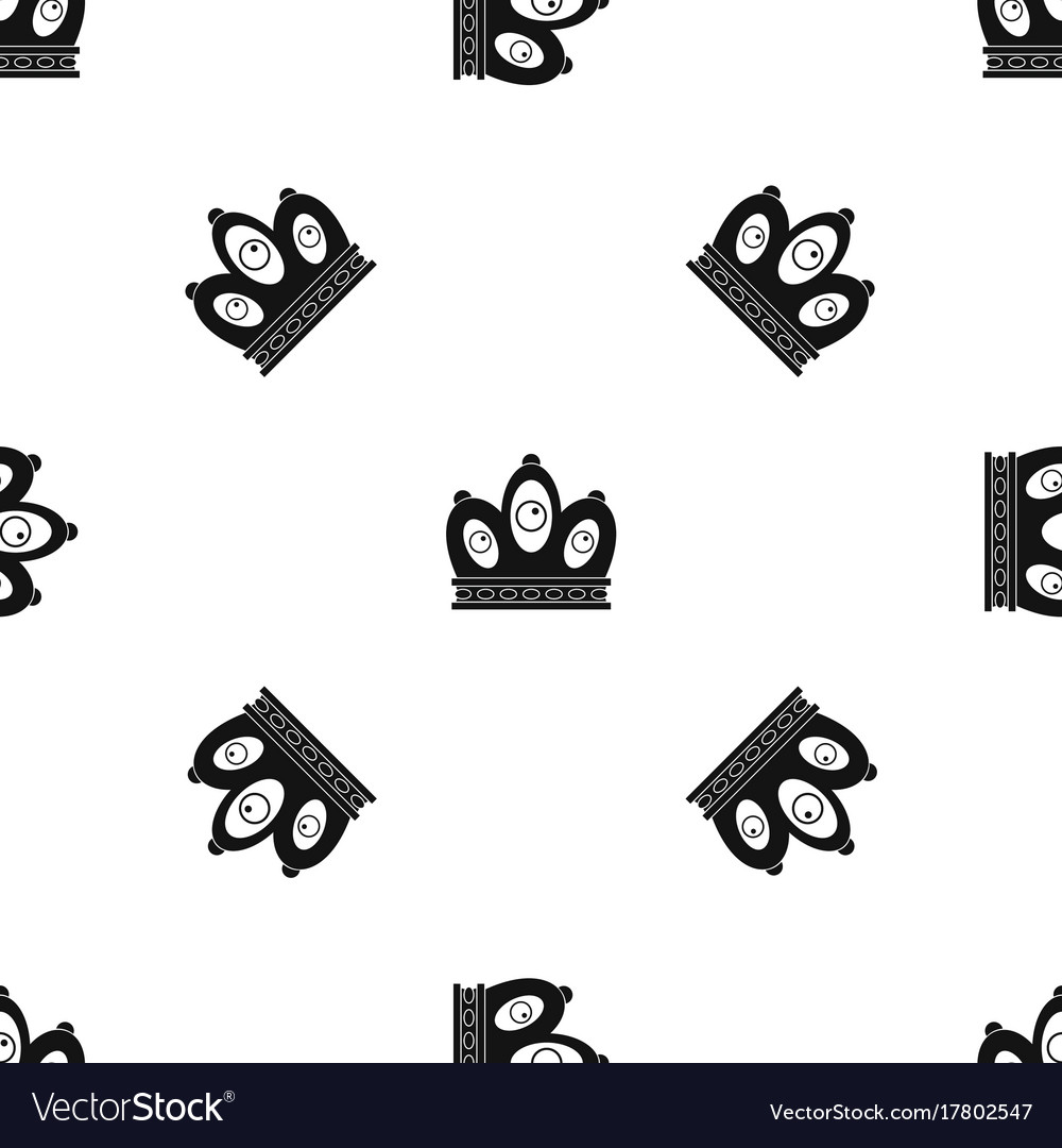 queen crown pattern seamless black royalty free vector image