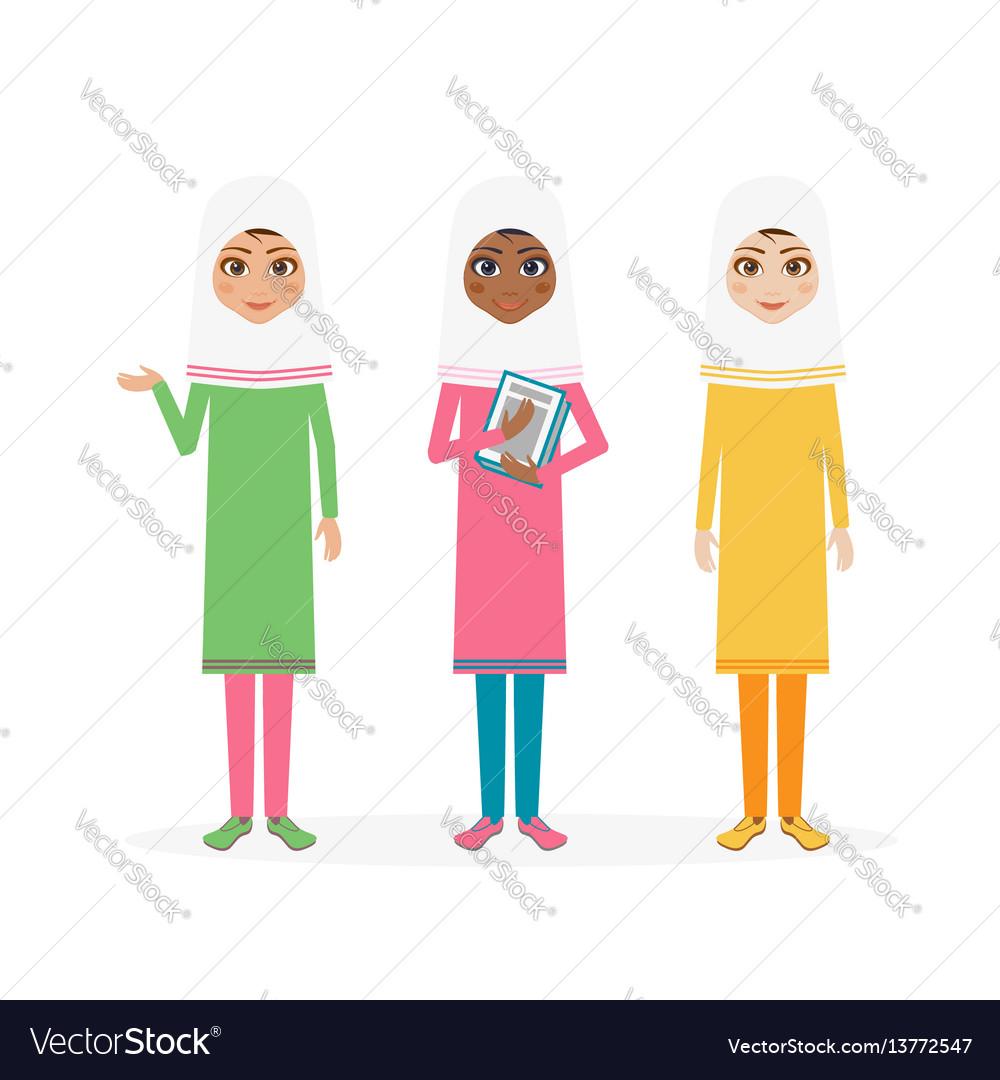 Schoolgirl character cartoon flat