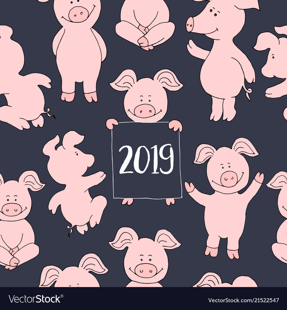 Seamless pig collection set banner happy new year