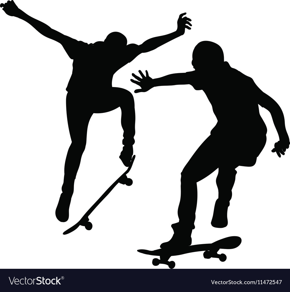 Silhouette of a young man skateboarding
