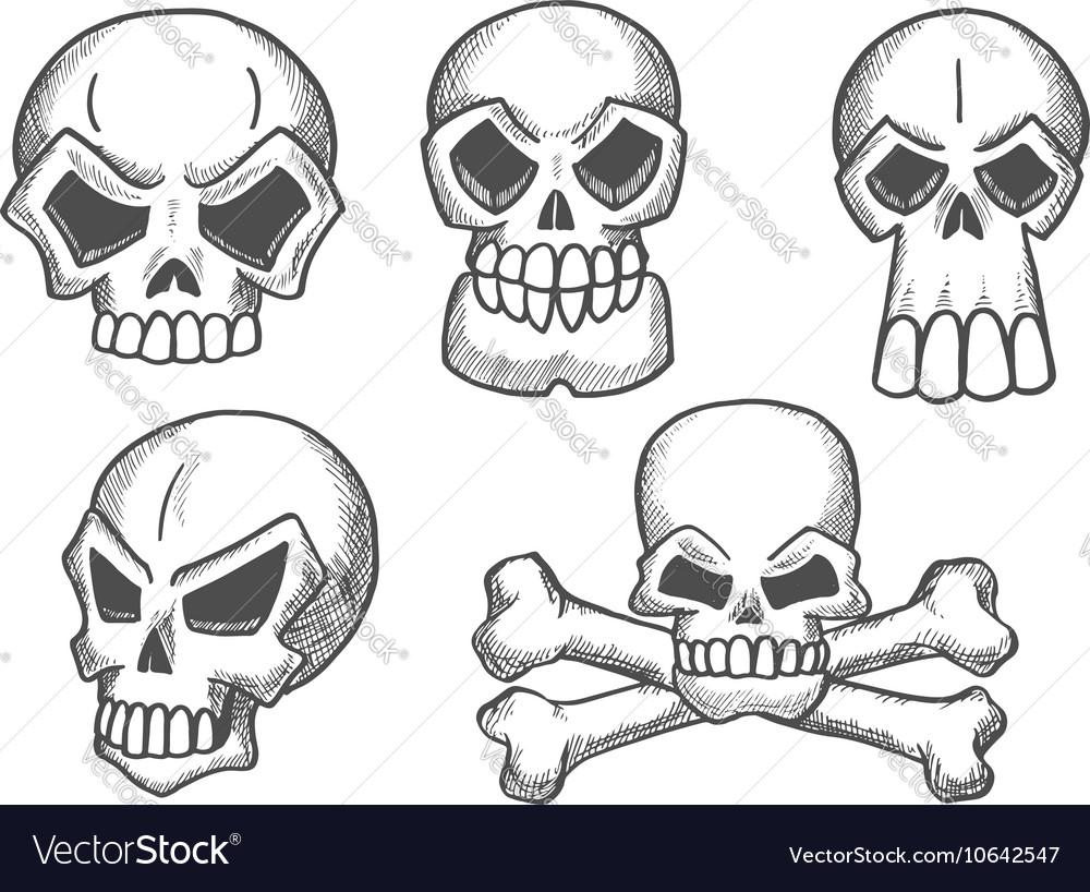 Skulls and skeleton crossbones sketch icons