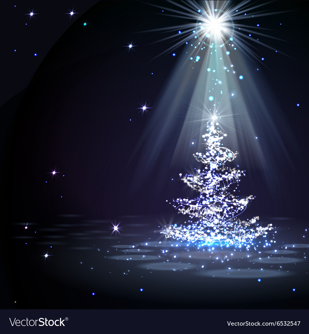 The Magic Christmas Tree in spotlight vector image on VectorStock