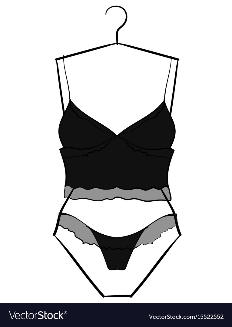 0d76ed5084 Black-gray underwear set hanging on a hanger eps10 vector image