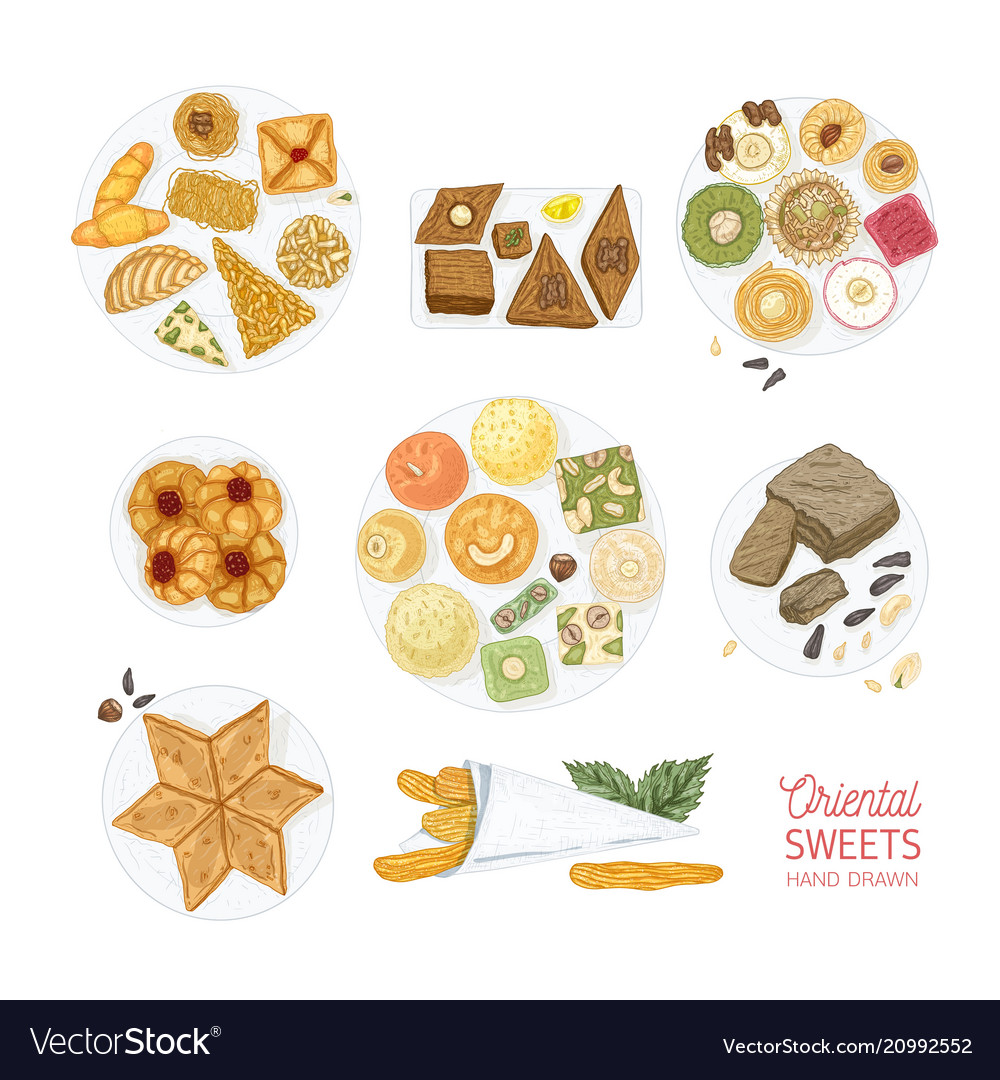 Collection drawings oriental sweets isolated