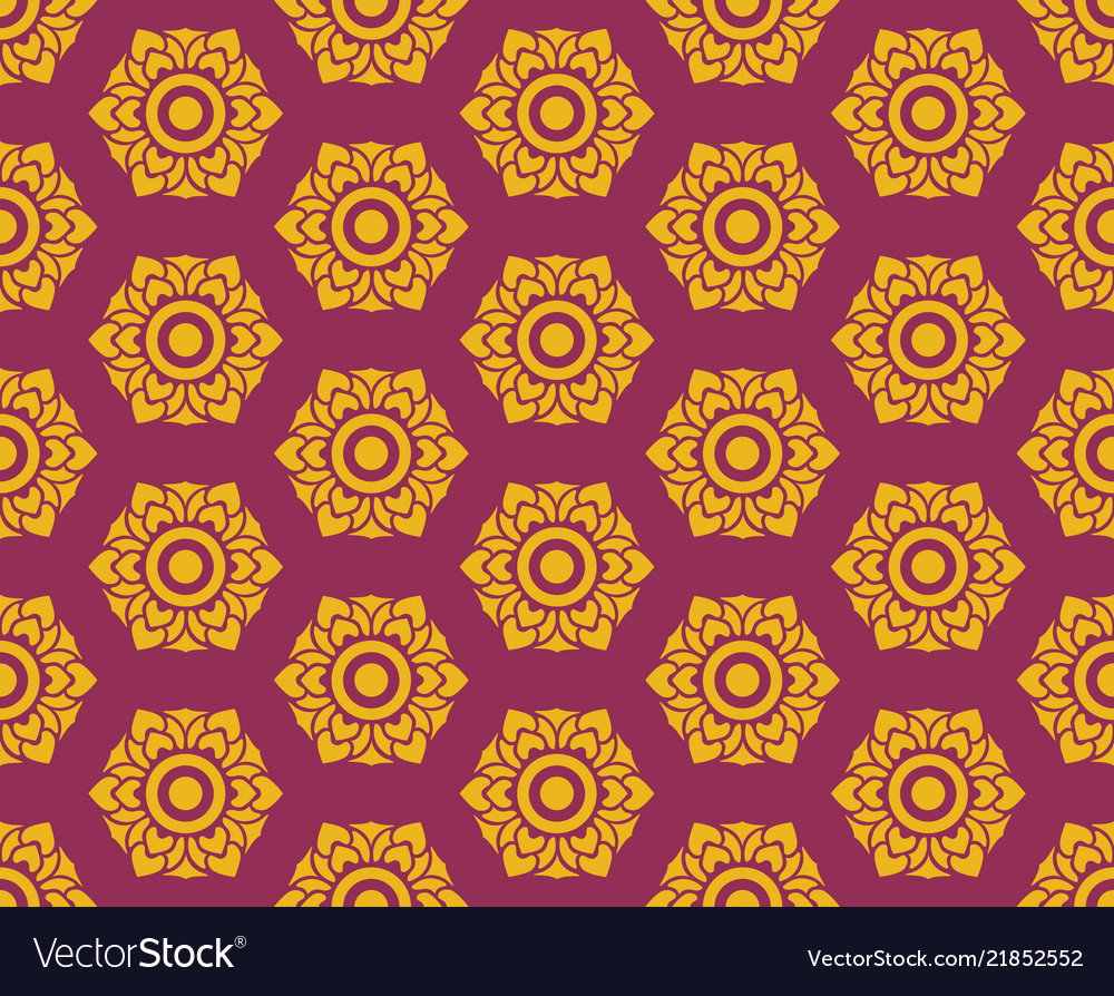Golden thai floral pattern seamless on red