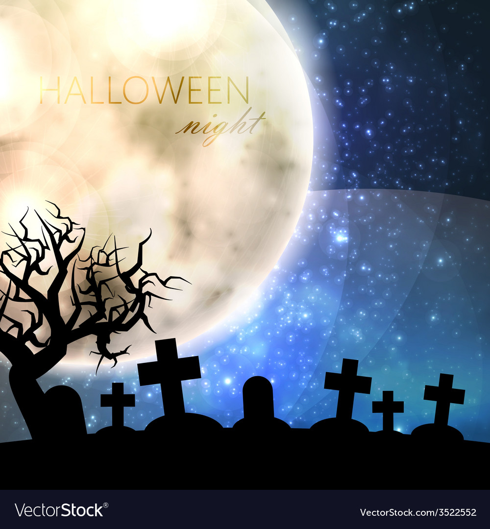 halloween with full moon and cemetery on the night