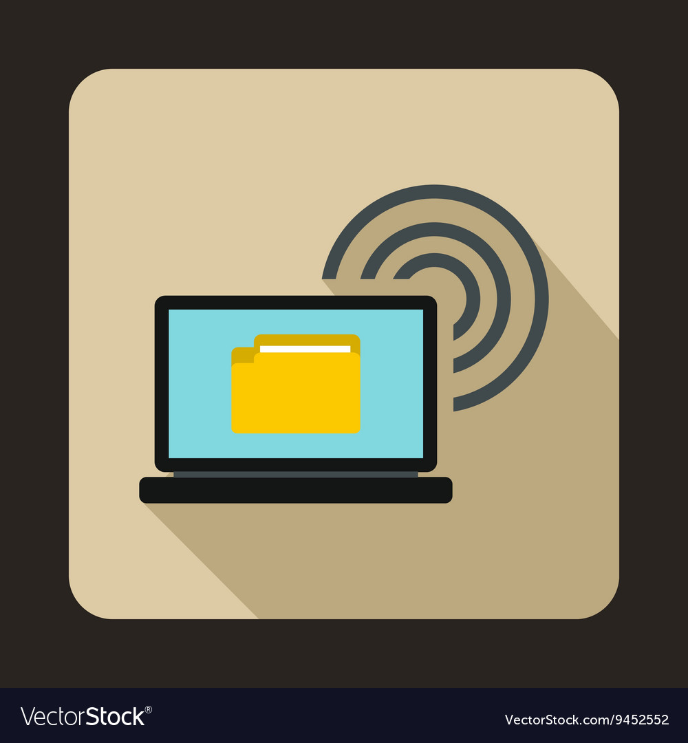 Laptop and and wireless icon flat style