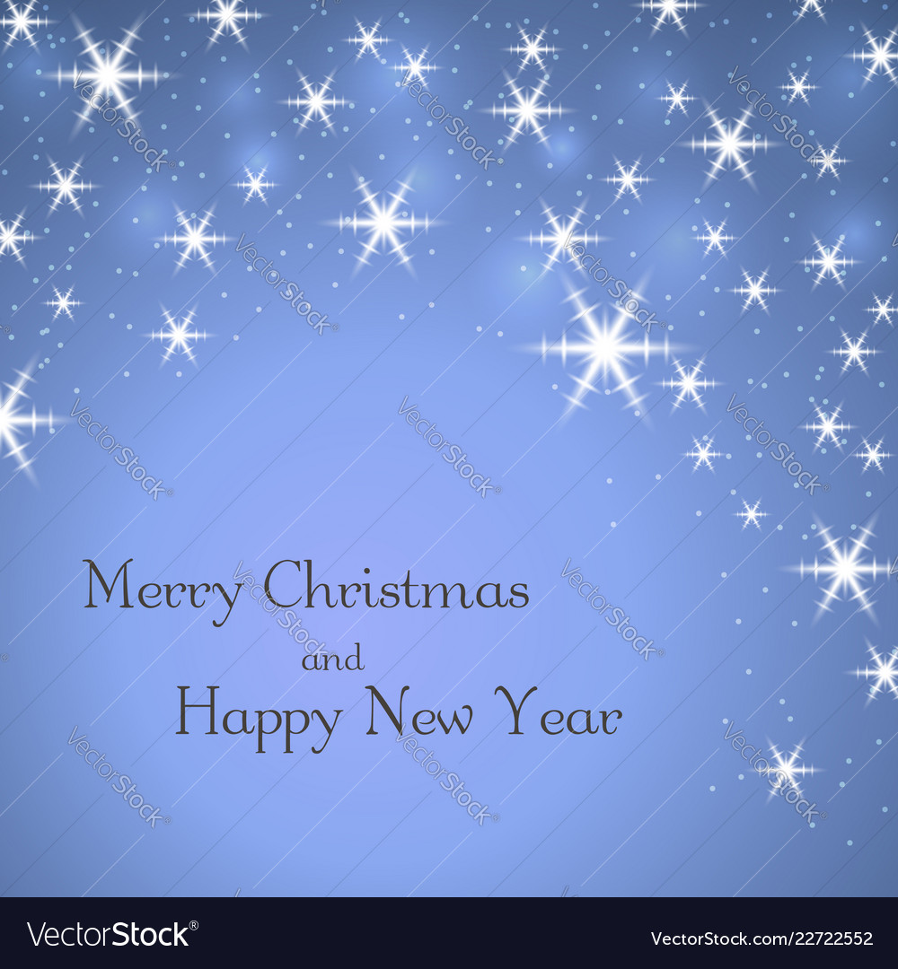 Merry christmas blue background with text stars