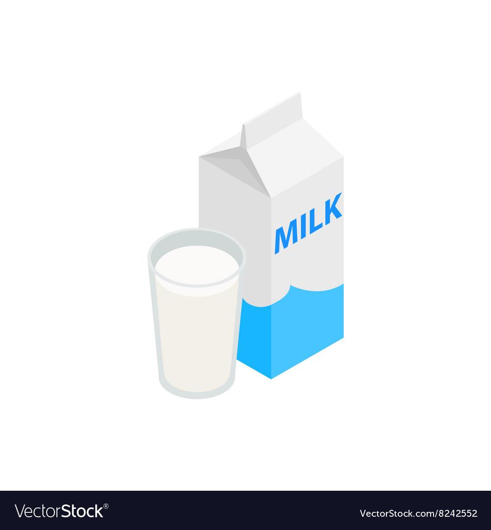 Milk icon isometric 3d style