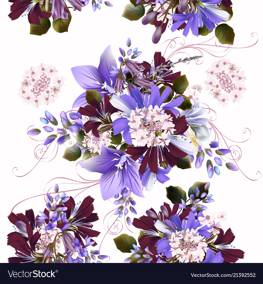 Seamless background or pattern with flowers