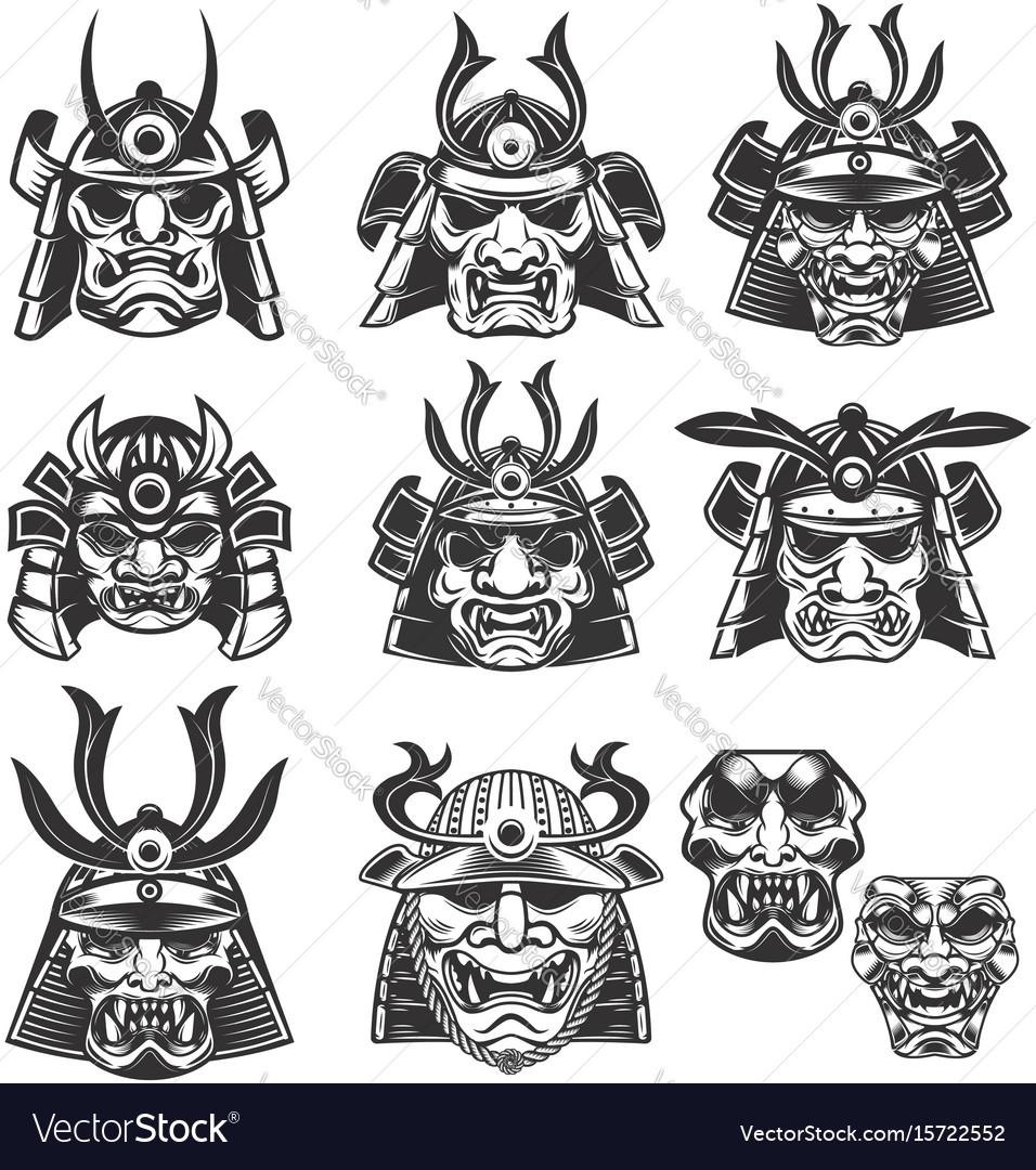 Set Of Samurai Masks And Helmets On White Vector Image