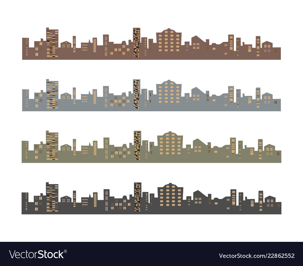 Set of silhouettes of buildings