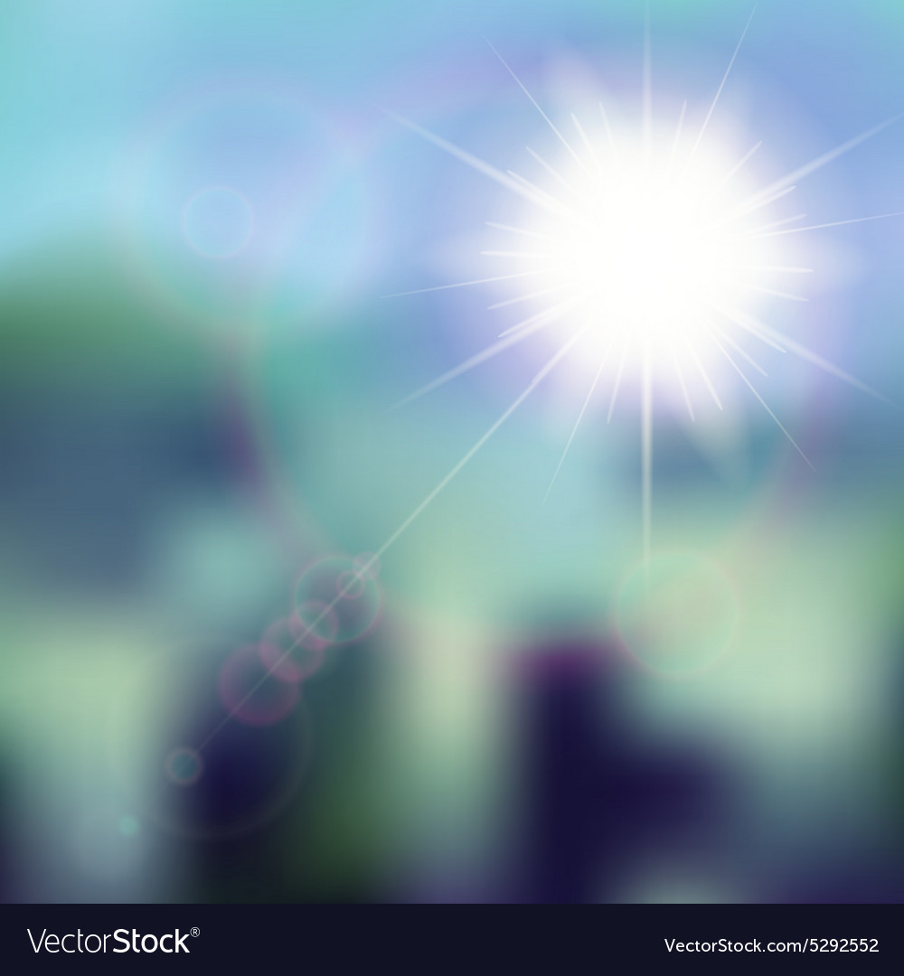 Summer background with sun burst with lens flare