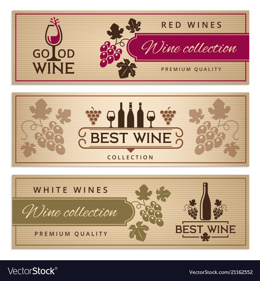 Wine banners set design template of vintage wine