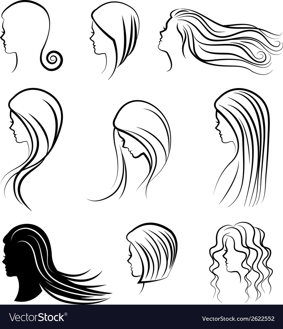 Women heads with beautiful hair vector image