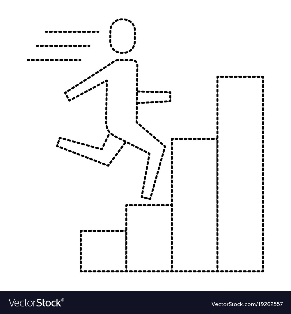 Businessman run up ladder diagram bars success vector image ccuart Image collections